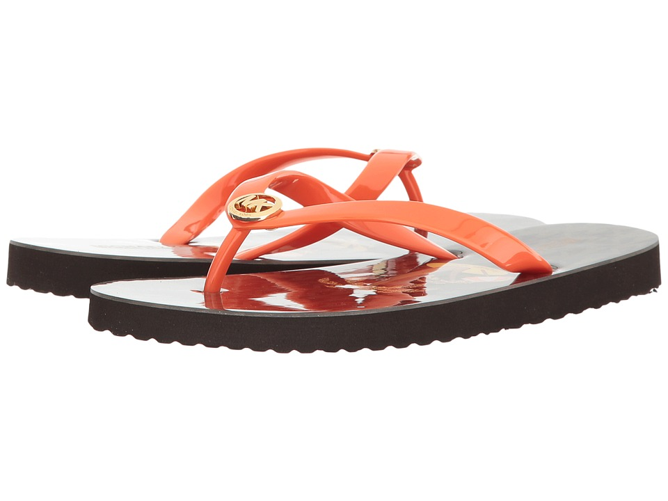 MICHAEL Michael Kors - Flip-Flop Shiny (Mimosa/Brown PVC/Mini MK Logo PVC/Palm Tree) Women's Shoes