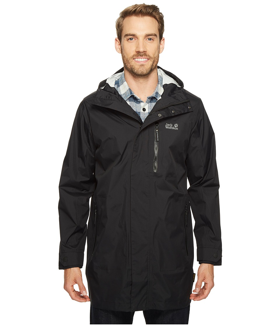 Jack Wolfskin Crosstown Raincoat (Black) Men