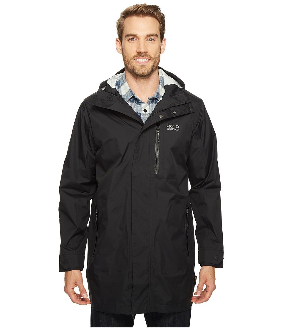 Jack Wolfskin - Crosstown Raincoat (Black) Men's Coat