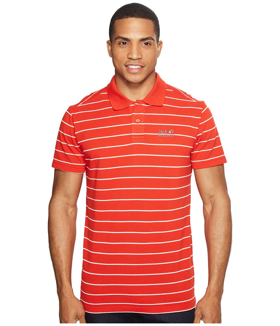 Jack Wolfskin - Pique Striped Polo (Fiery Red Stripes) Men's Clothing