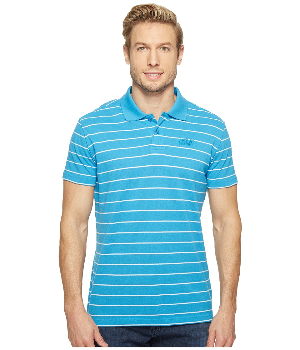 Jack Wolfskin - Pique Striped Polo (Ocean Blue Stripes) Men's Clothing