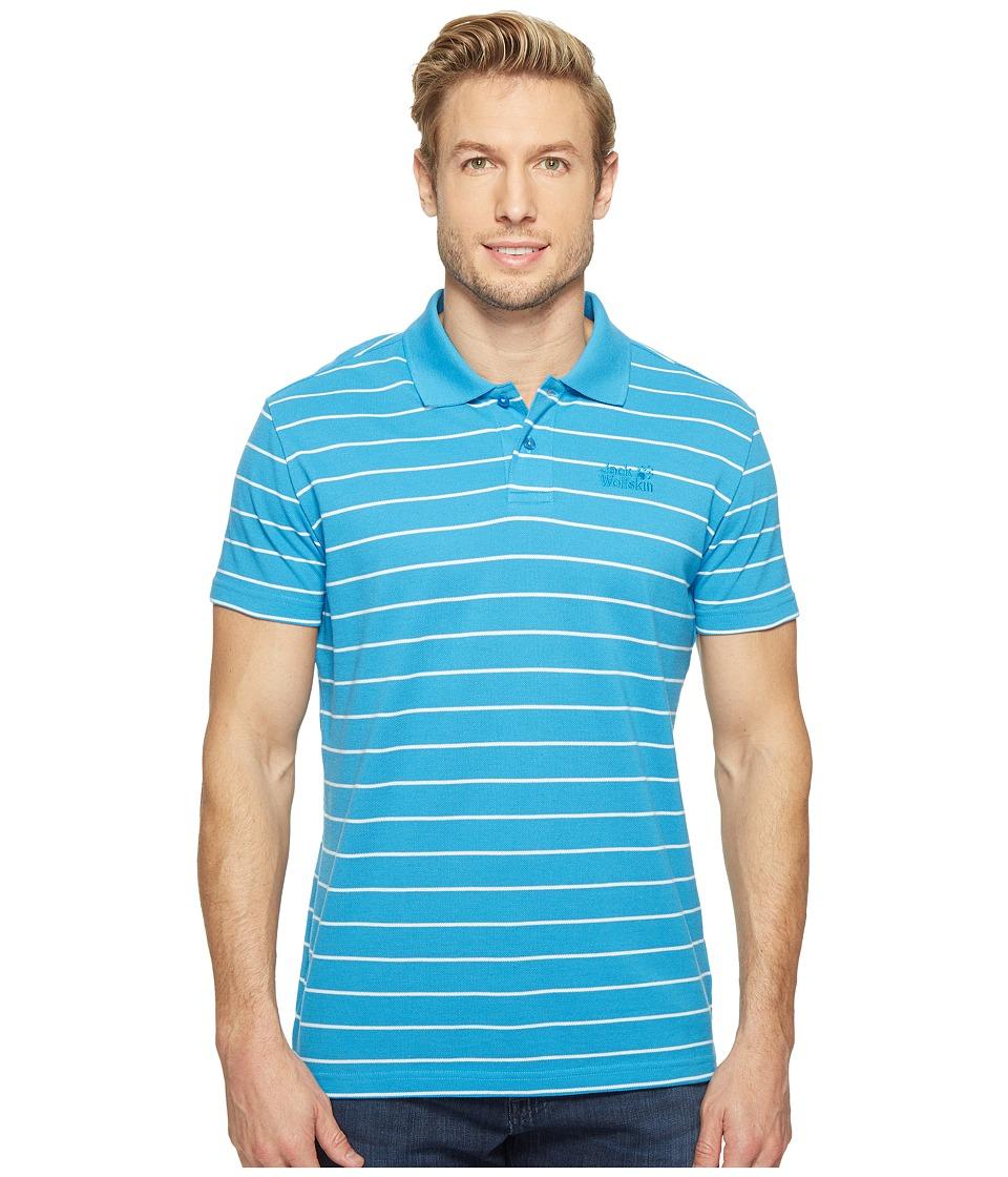 Jack Wolfskin - Pique Striped Polo (Ocean Blue Stripes) Men's Clothing