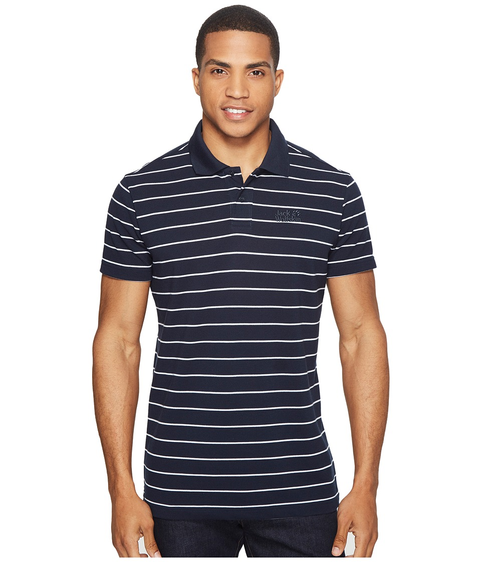 Jack Wolfskin - Pique Striped Polo (Night Blue Stripes) Men's Clothing