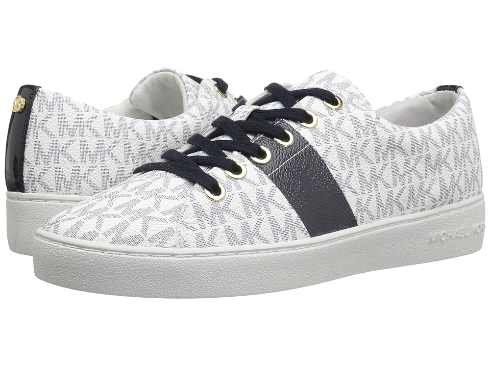 MICHAEL Michael Kors - Keaton Lace Up (White/Navy Mini MK Logo PVC/Patent/Painted Stripe) Women's Lace up casual Shoes