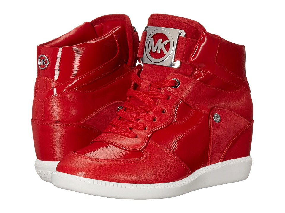 MICHAEL Michael Kors - Nikko High Top (Crimson Patent Saffiano/Sport Suede/Suprema Nappa Sport) Women's Lace up casual Shoes