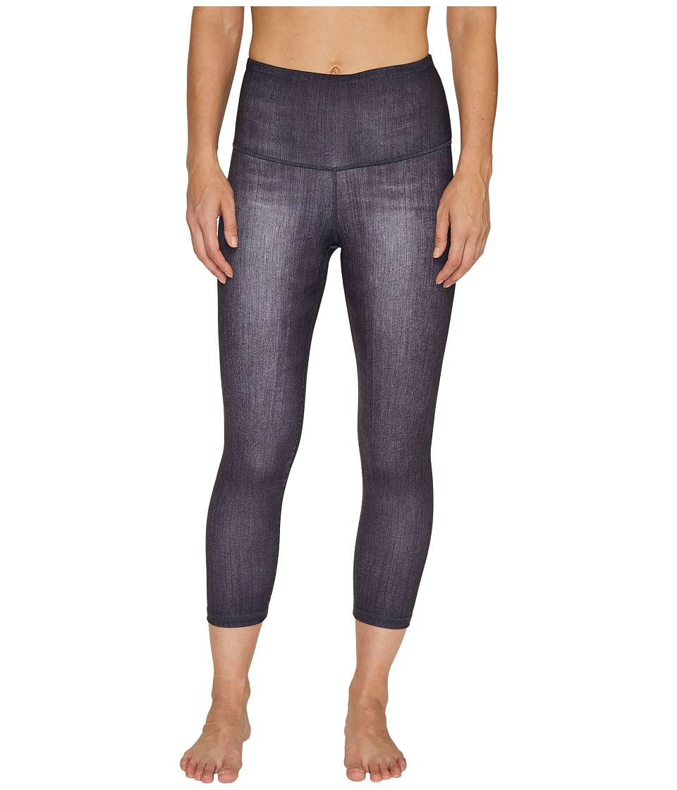 Lucy - Indigo High-Rise Yoga Capri Leggings (Black Indigo) Women's Casual Pants