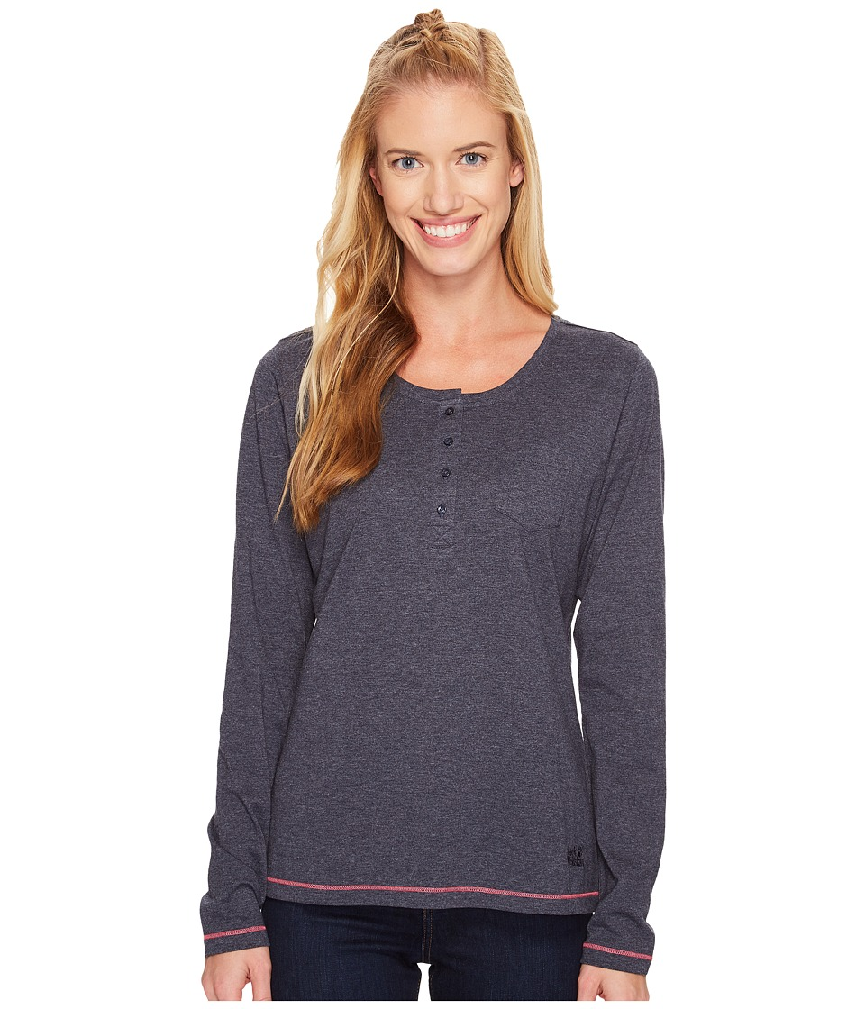 Jack Wolfskin - Essential Long Sleeve (Midnight Blue) Women's Clothing