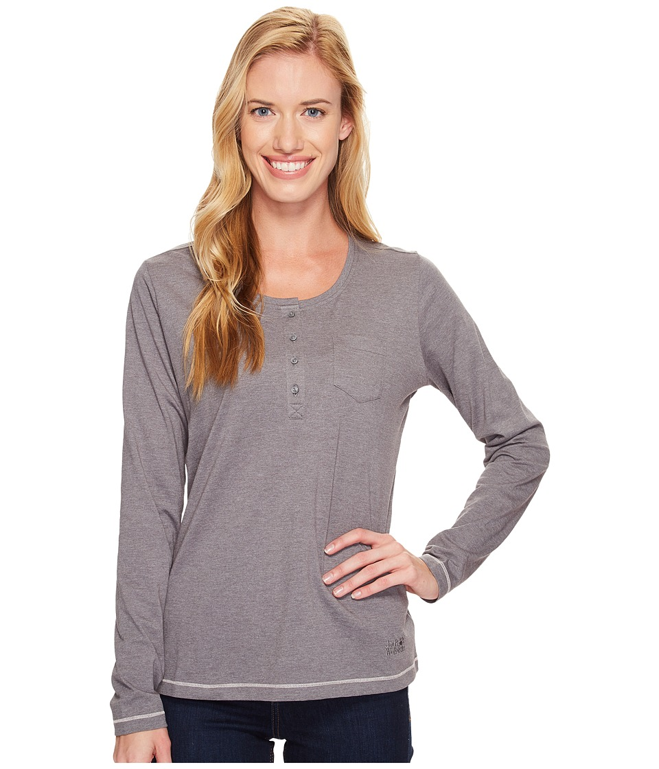 Jack Wolfskin - Essential Long Sleeve (Tarmac Grey) Women's Clothing