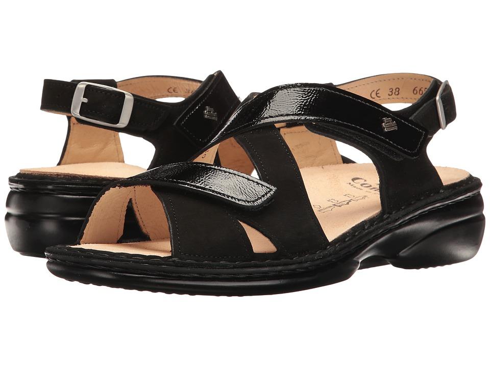 Finn Comfort - Leawood-S (Black Nubuck/Patent) Women's Sandals