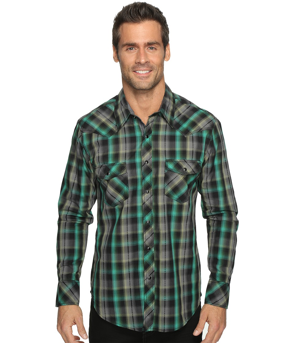 Rock and Roll Cowboy - Long Sleeve Snap B2S9065 (Green) Men's Long Sleeve Button Up
