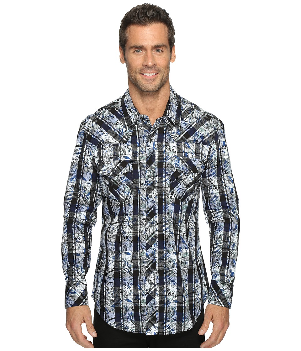 Rock and Roll Cowboy - Long Sleeve Snap B2S8406 (Blue) Men's Long Sleeve Button Up