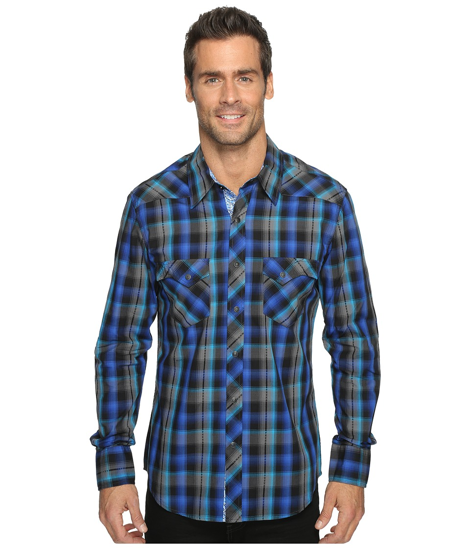 Rock and Roll Cowboy - Long Sleeve Snap B2S9075 (Blue) Men's Long Sleeve Button Up