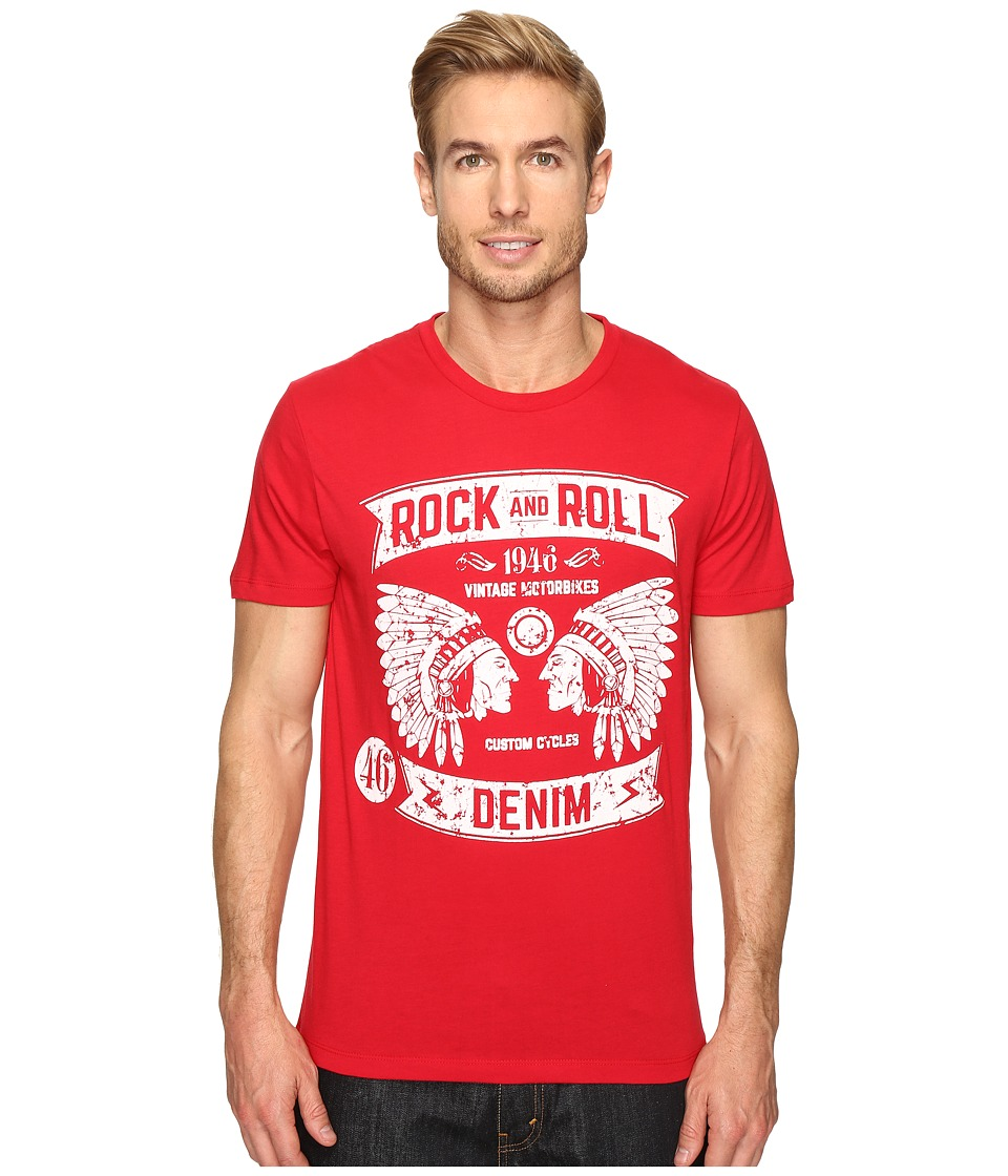 Rock and Roll Cowboy - Short Sleeve T-Shirt P9-9243 (Red) Men's T Shirt