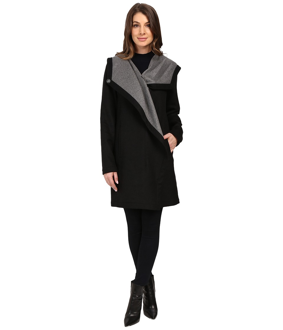 Vince Camuto - Doubleface Funnel Collar Coat (Black/Mid Grey) Women's Coat