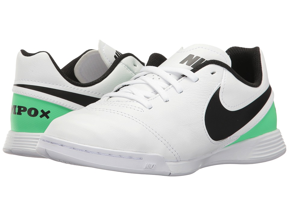Nike Kids - Jr Tiempo Legend VI IC Soccer (Toddler/Little Kid/Big Kid) (White/Black/Electro Green) Kids Shoes