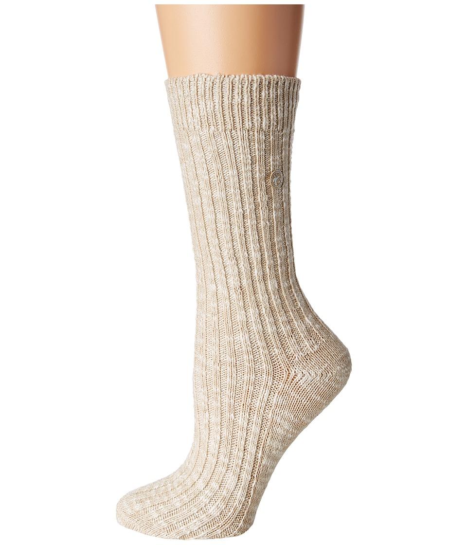 Birkenstock - Cotton Slub Sock (Beige/White) Women's Crew Cut Socks Shoes