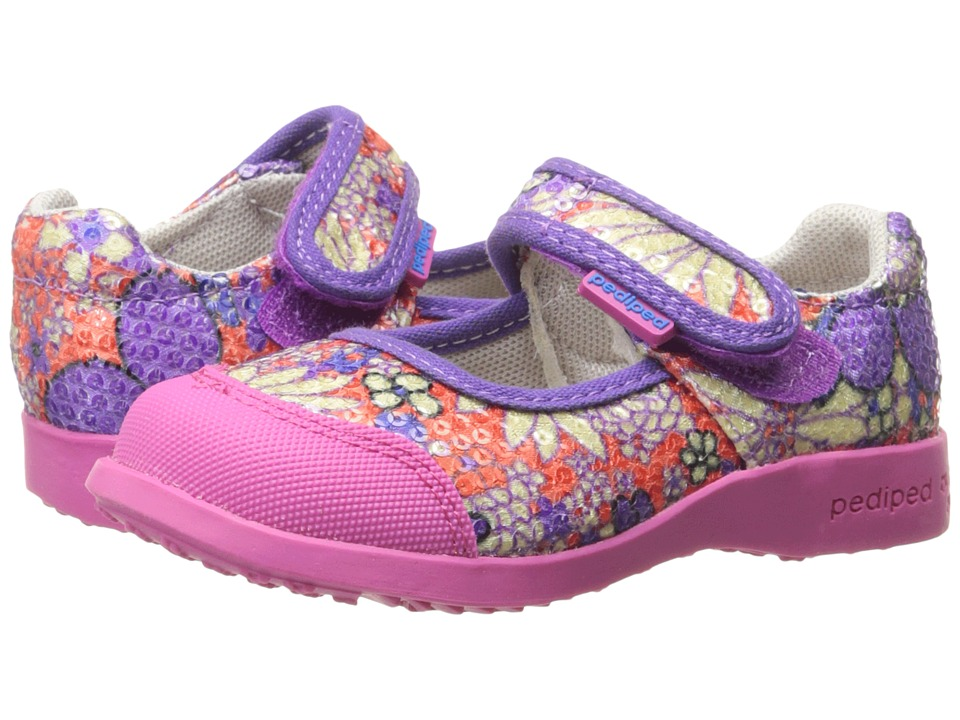 pediped - Bree Flex (Toddler/Little Kid) (Orange Floral) Girl's Shoes