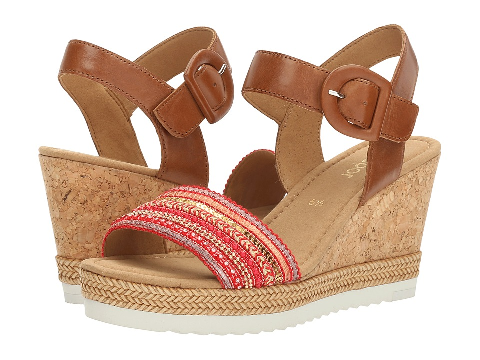 Gabor - Gabor 6.5792 (Peanut/Red) Women's Wedge Shoes