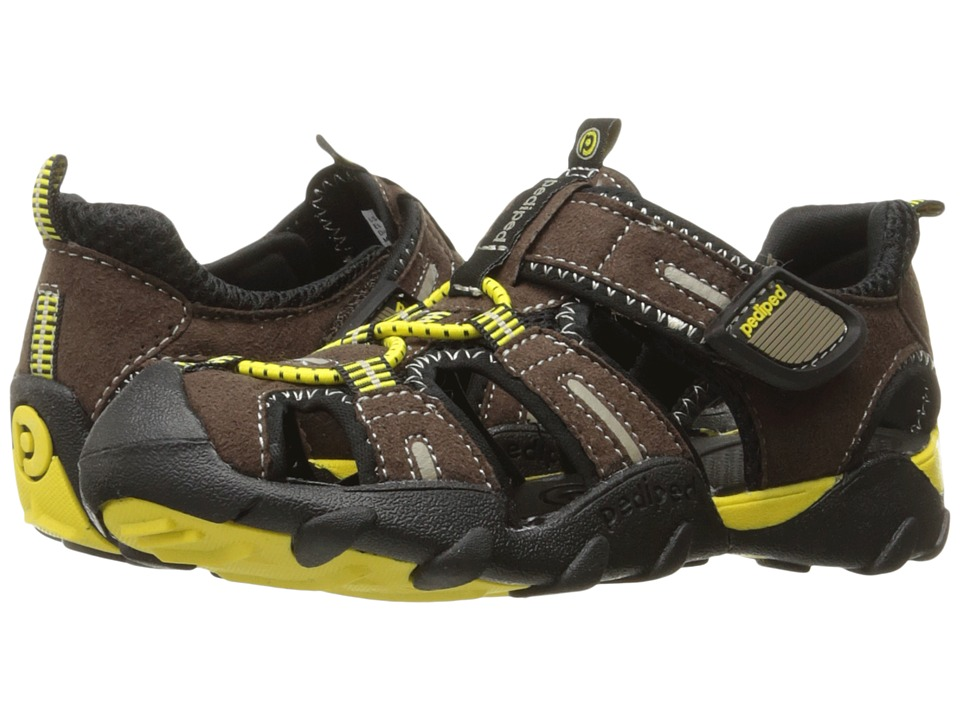pediped - Canyon Flex (Toddler/Little Kid/Big Kid) (Chocolate/Yellow) Boys Shoes