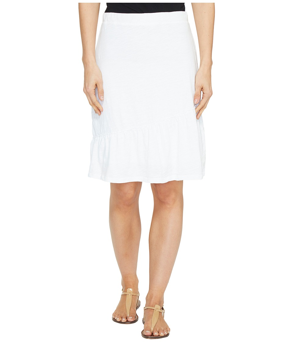 Mod-o-doc - Slub Jersey Short Skirt with Asymmetrical Ruffle (White) Women's Skirt