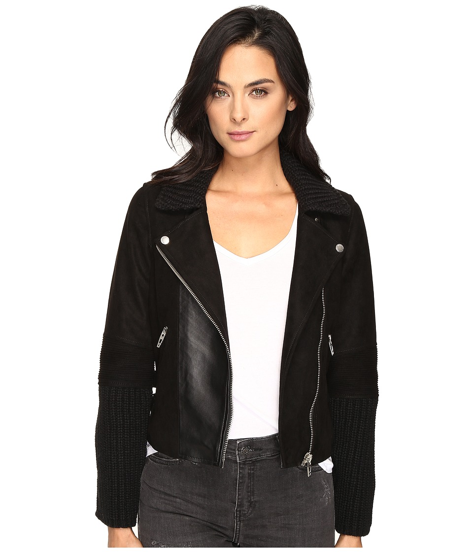 Blank NYC - Suede and Cable Sweater Moto Jacket in Mix and Match (Mix/Match) Women's Coat