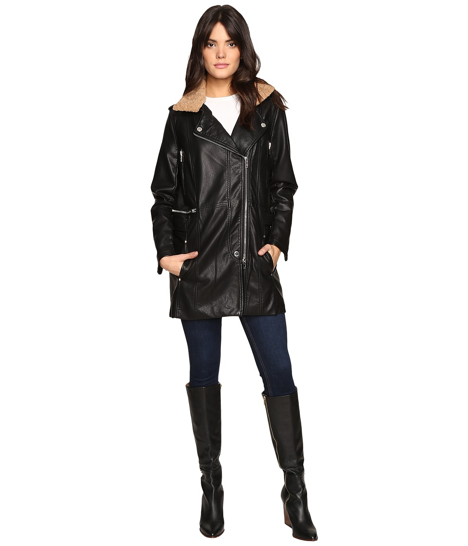 Blank NYC - Black Long Jacket with Beige Collar Detail in Trump Wreck (Trump Wreck) Women's Coat