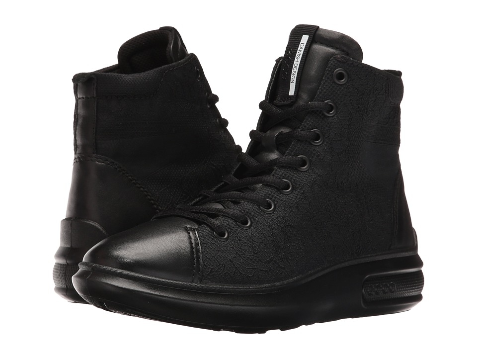 ECCO - Soft 3 High Top (Black/Black) Women's Lace-up Boots
