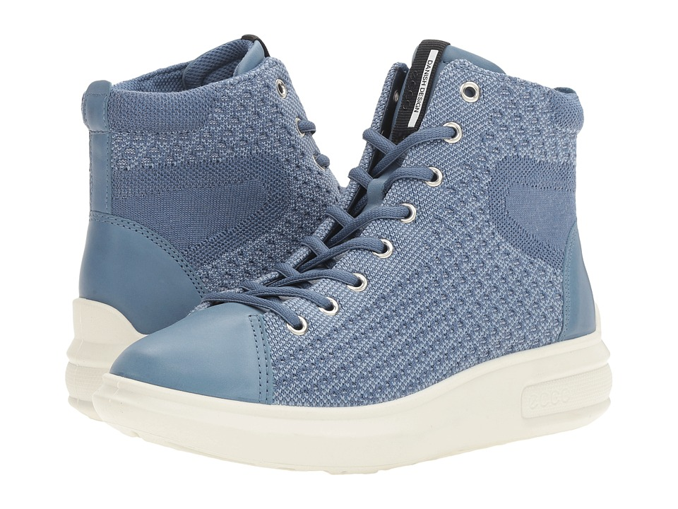ECCO Soft 3 High Top (Retro Blue/Retro Blue) Women