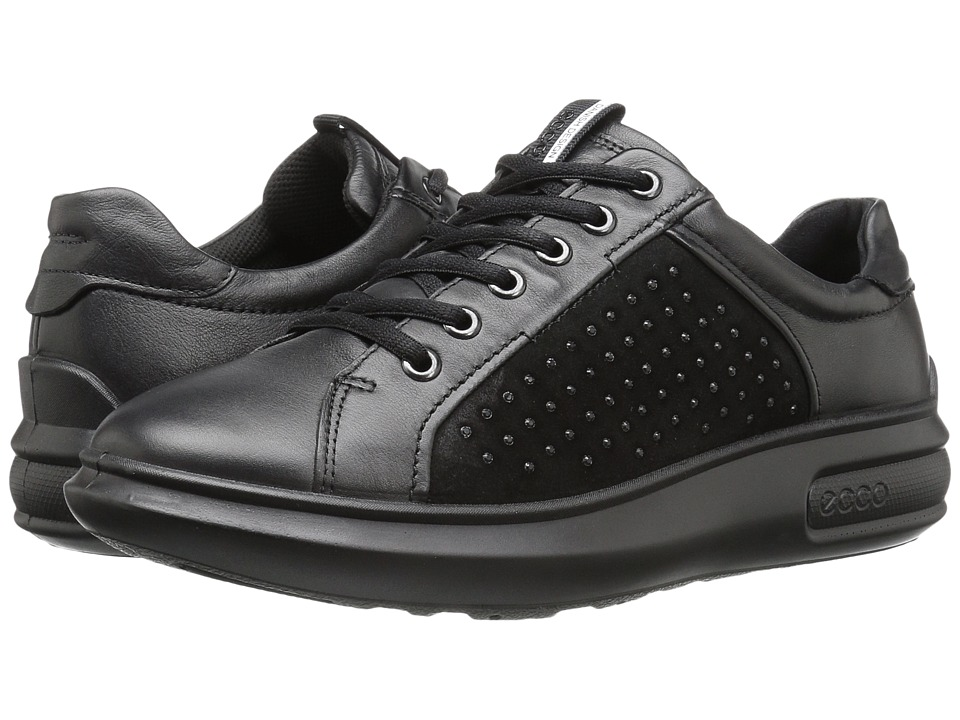 ECCO - Soft 3 Tie (Black/Black) Women's Shoes