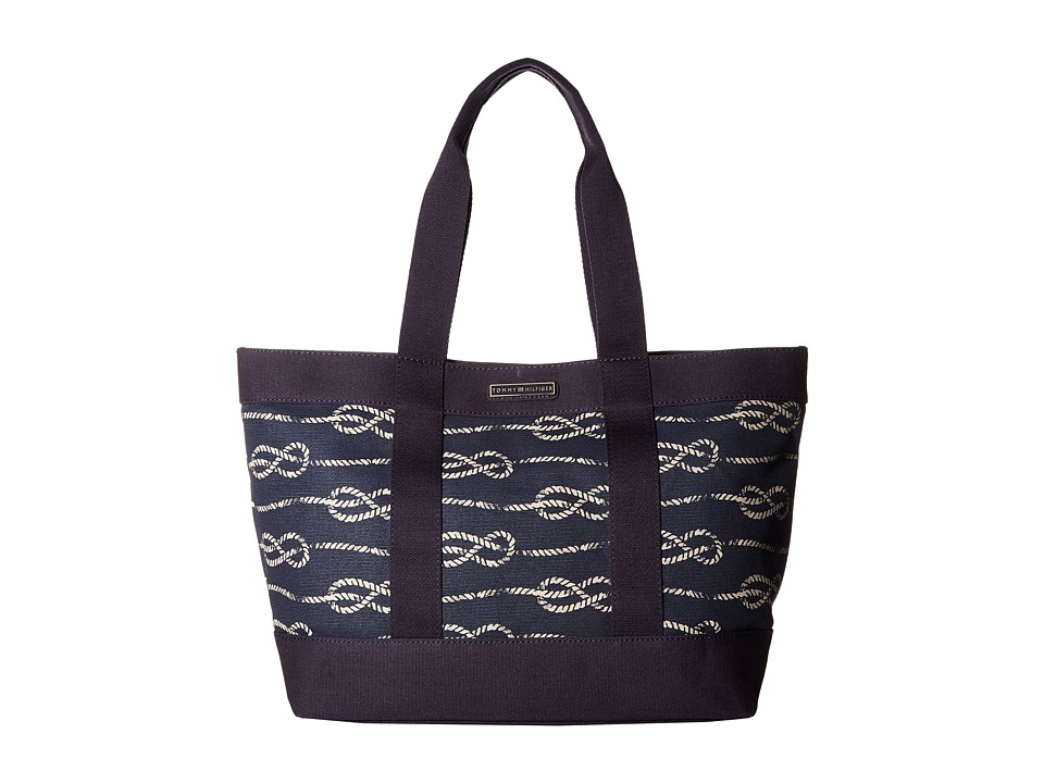 Tommy Hilfiger - Daphne Tote Knotted Rope Print Canvas (Navy) Tote Handbags