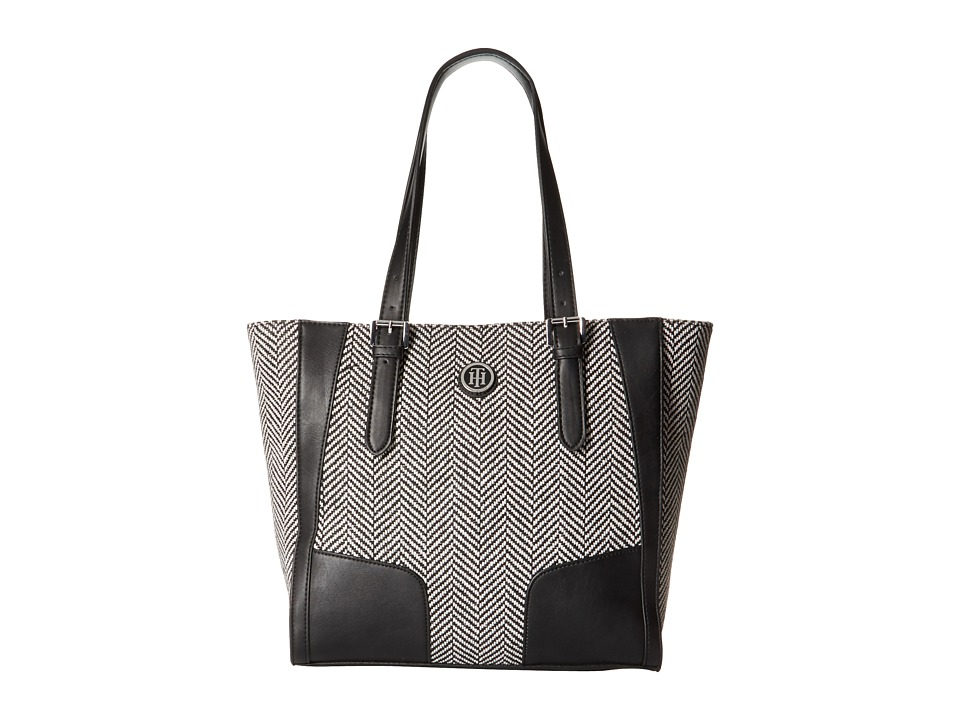 Tommy Hilfiger - Elise Tote Woven Chevron (Black/Natural) Tote Handbags