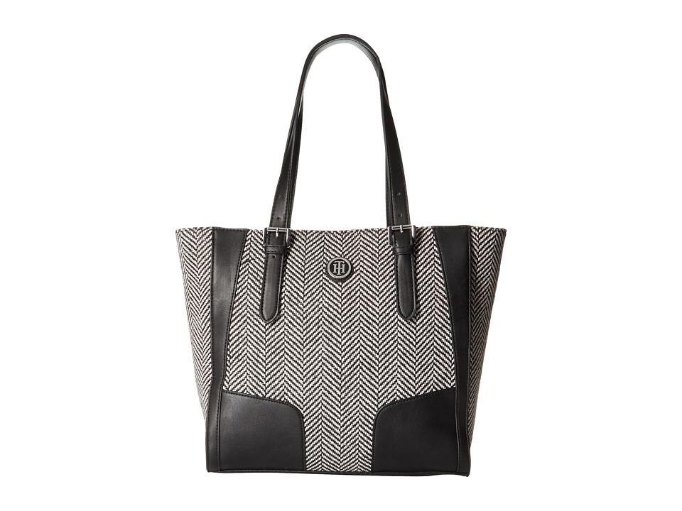 Tommy Hilfiger - Elise Tote Woven Chevron (Black/Natural) Tote Handbags