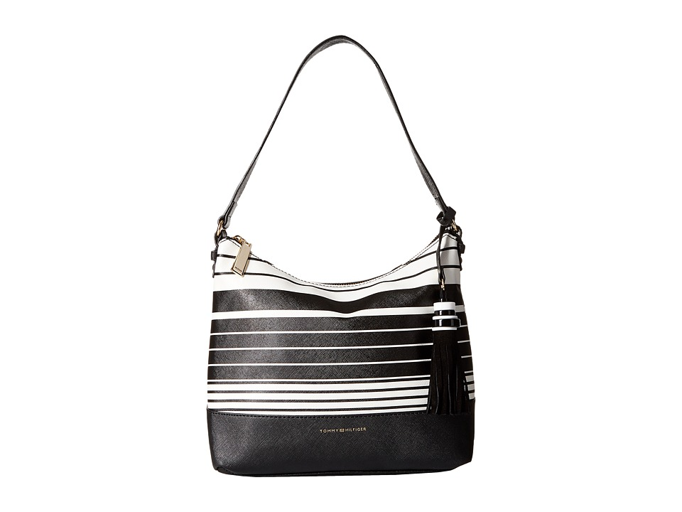 Tommy Hilfiger - Grace Hobo Tom Stripe (Black/White) Hobo Handbags