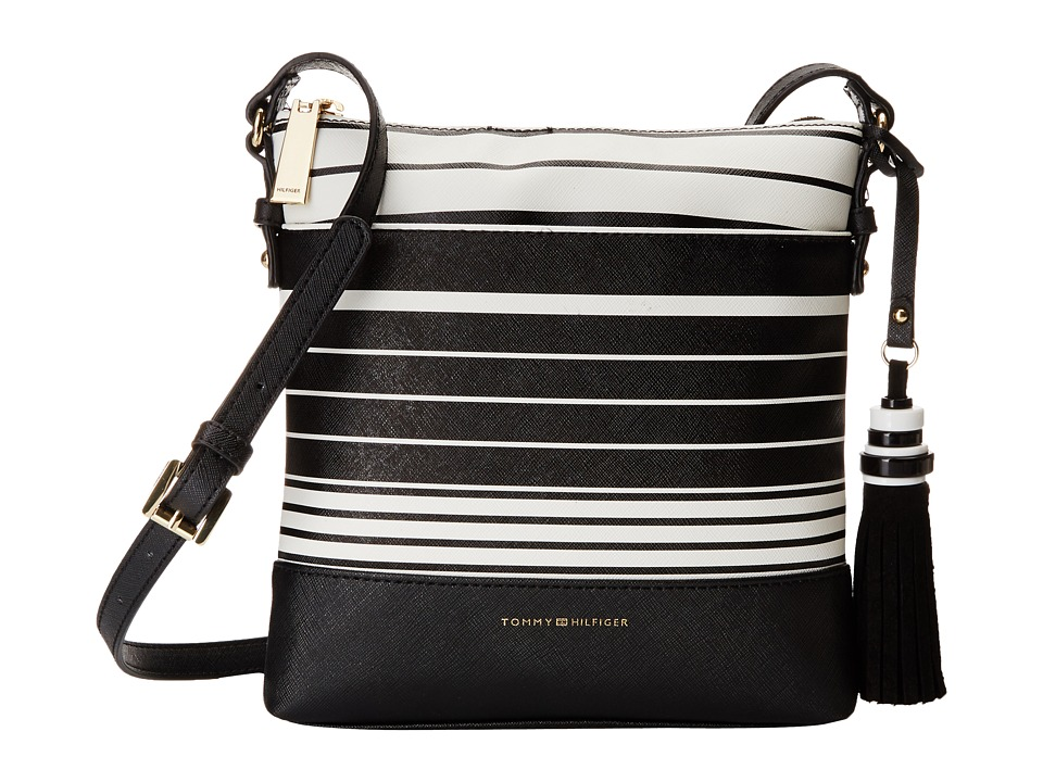 Tommy Hilfiger - Grace North/South Crossbody Tommy Stripe (Black/White) Cross Body Handbags