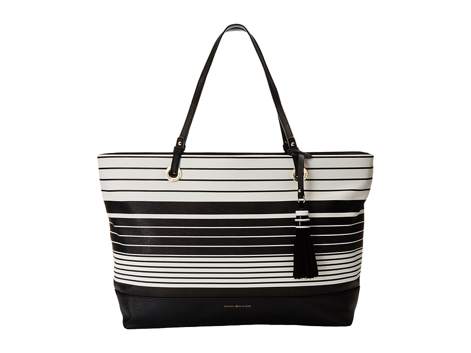 Tommy Hilfiger - Grace Tote Tom Stripe (Black/White) Tote Handbags