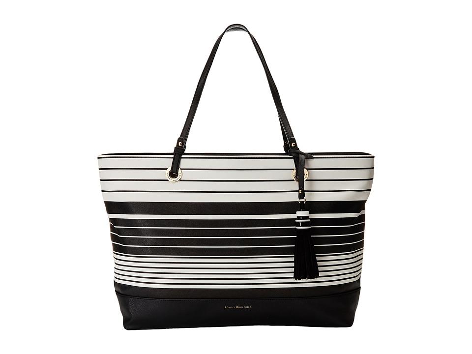 Tommy Hilfiger - Grace Tote Tom Stripe (Black/White) Tote Handbags