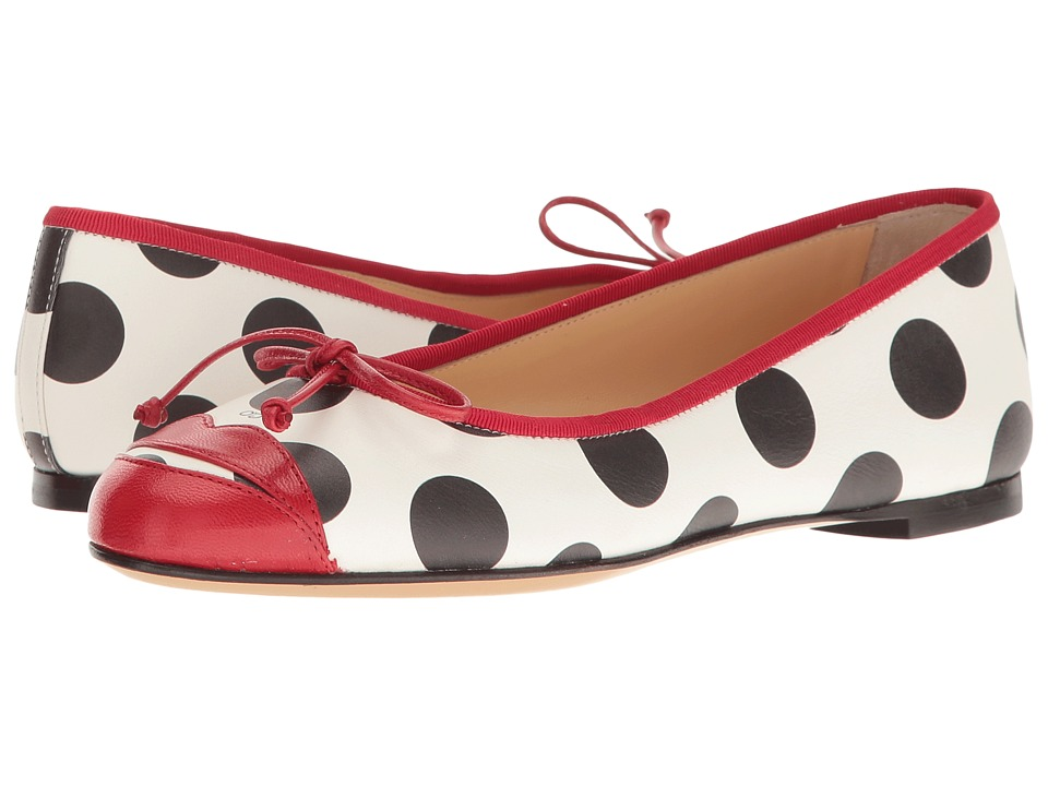 Charlotte Olympia - Kiss Me Darcy (White Polka Dot Print/Real Red/Printed Calfskin/Kidskin) Women's Shoes
