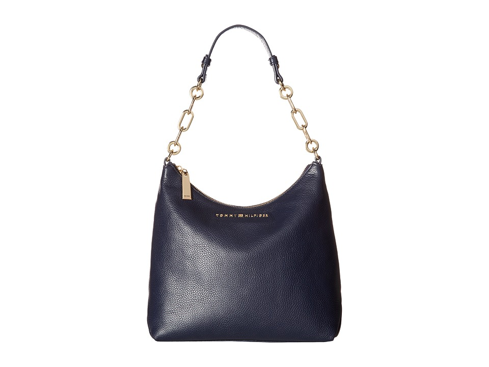 Tommy Hilfiger - Isabella Hobo Pebble Leather (Tommy Navy) Hobo Handbags