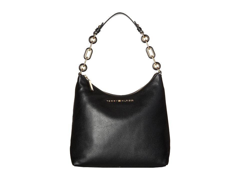 Tommy Hilfiger - Isabella Hobo Pebble Leather (Black) Hobo Handbags