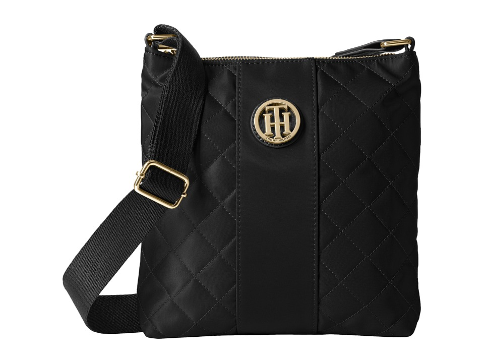 Tommy Hilfiger - Isla North/South Crossbody Quilted Nylon (Black) Cross Body Handbags