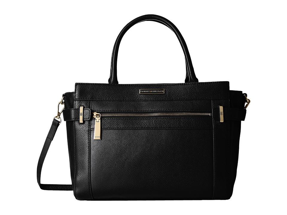 Tommy Hilfiger - Savanna Convertible Shopper Pebble Leather (Black) Handbags