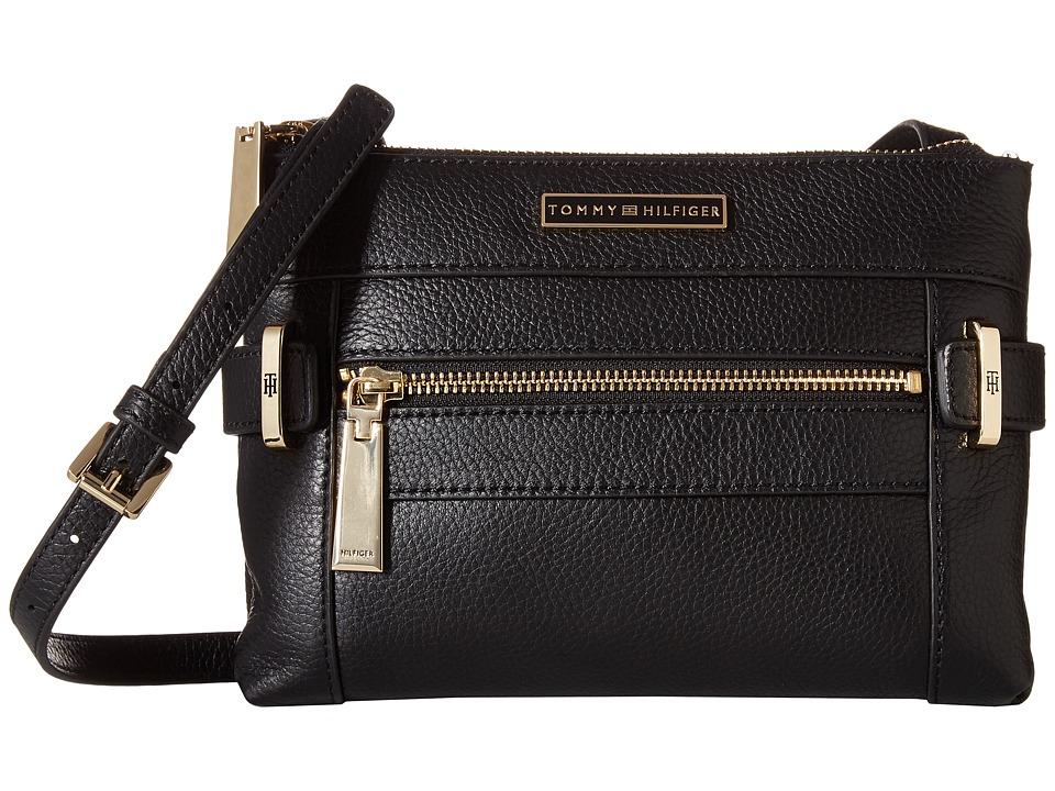 Tommy Hilfiger - Savanna Double Zip Crossbody Pebble Leather (Black) Cross Body Handbags