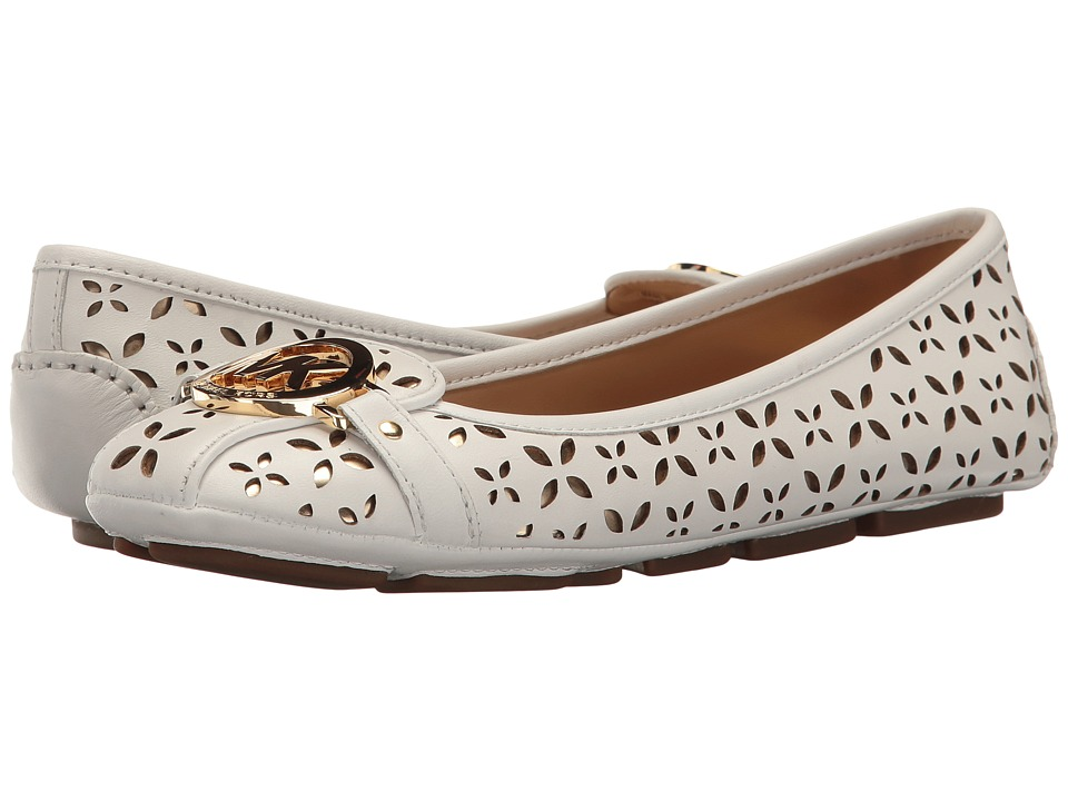 MICHAEL Michael Kors - Fulton Moc (Optic White/Pale Gold Vachetta Floral Perf/Mirror Metallic) Women's Slip on Shoes
