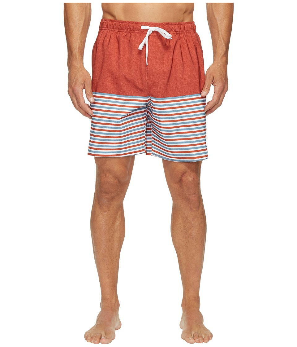 Quiksilver Waterman - Breezy Stripe Volley Shorts (Red Ochre) Men's Swimwear