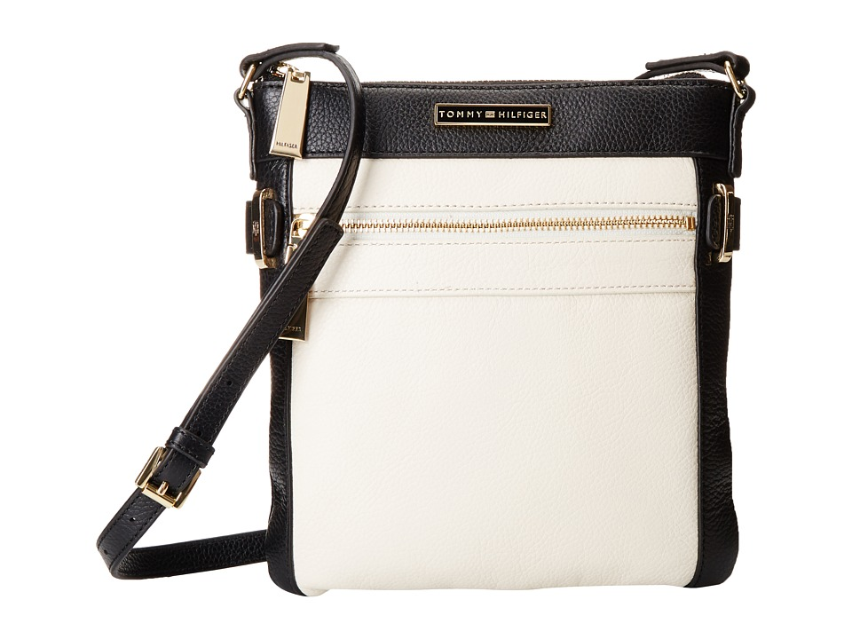 Tommy Hilfiger - Savanna North/South Crossbody Pebble Leather (Black/Winter White) Cross Body Handbags