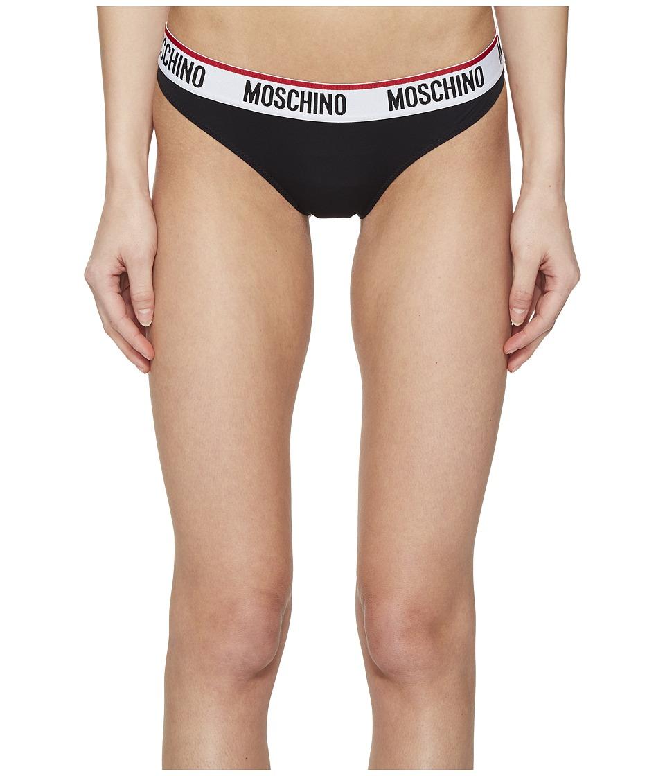 Moschino - Microfiber Logo Brief (Black) Women's Underwear