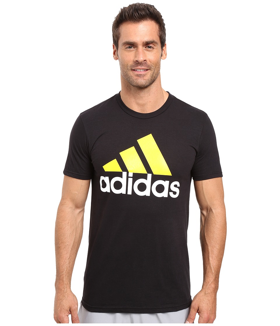 adidas - Badge of Sport Performance Tee (Black/White/Yellow Logo) Men's T Shirt