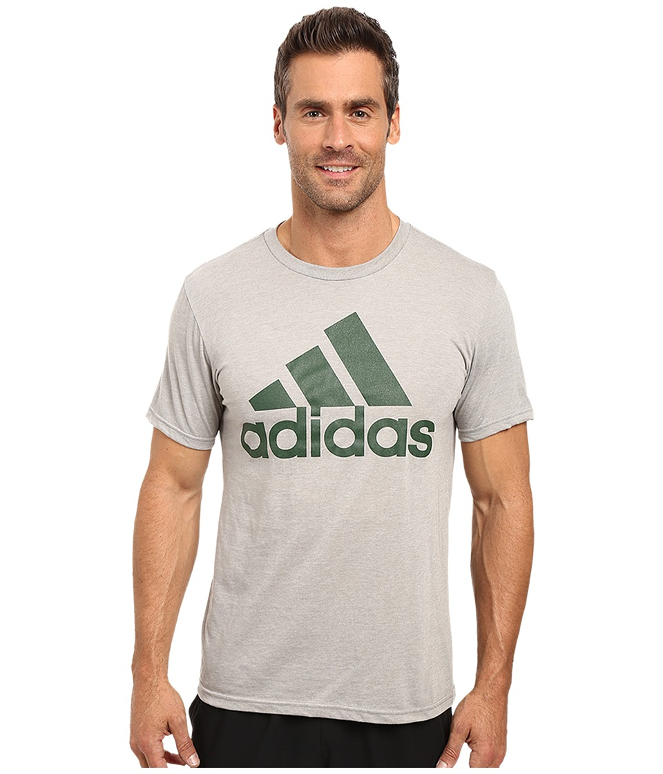 adidas - Badge of Sport Performance Tee (Grey/Hunter Logo) Men's T Shirt