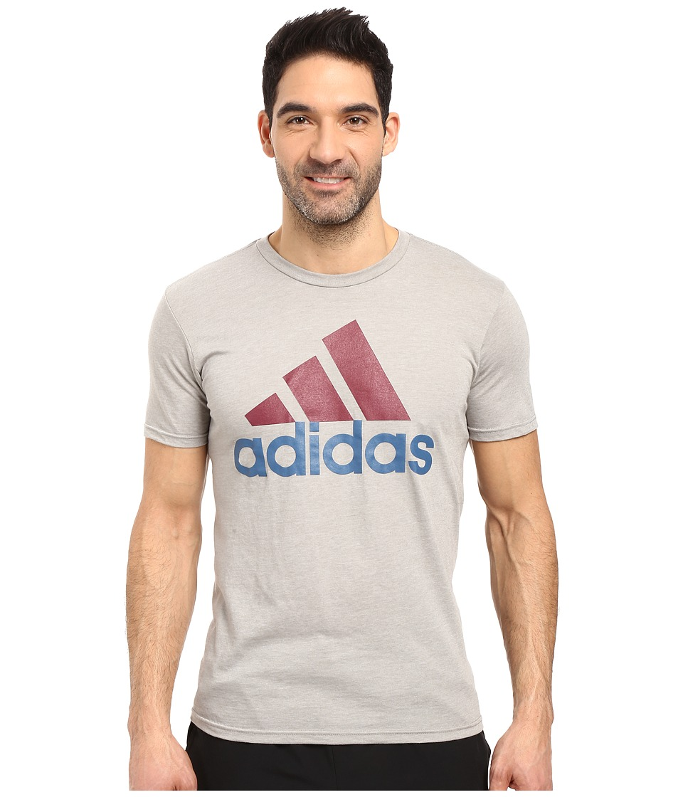 adidas - Badge of Sport Performance Tee (Grey Capital Blue/Burgundy Logo) Men's T Shirt