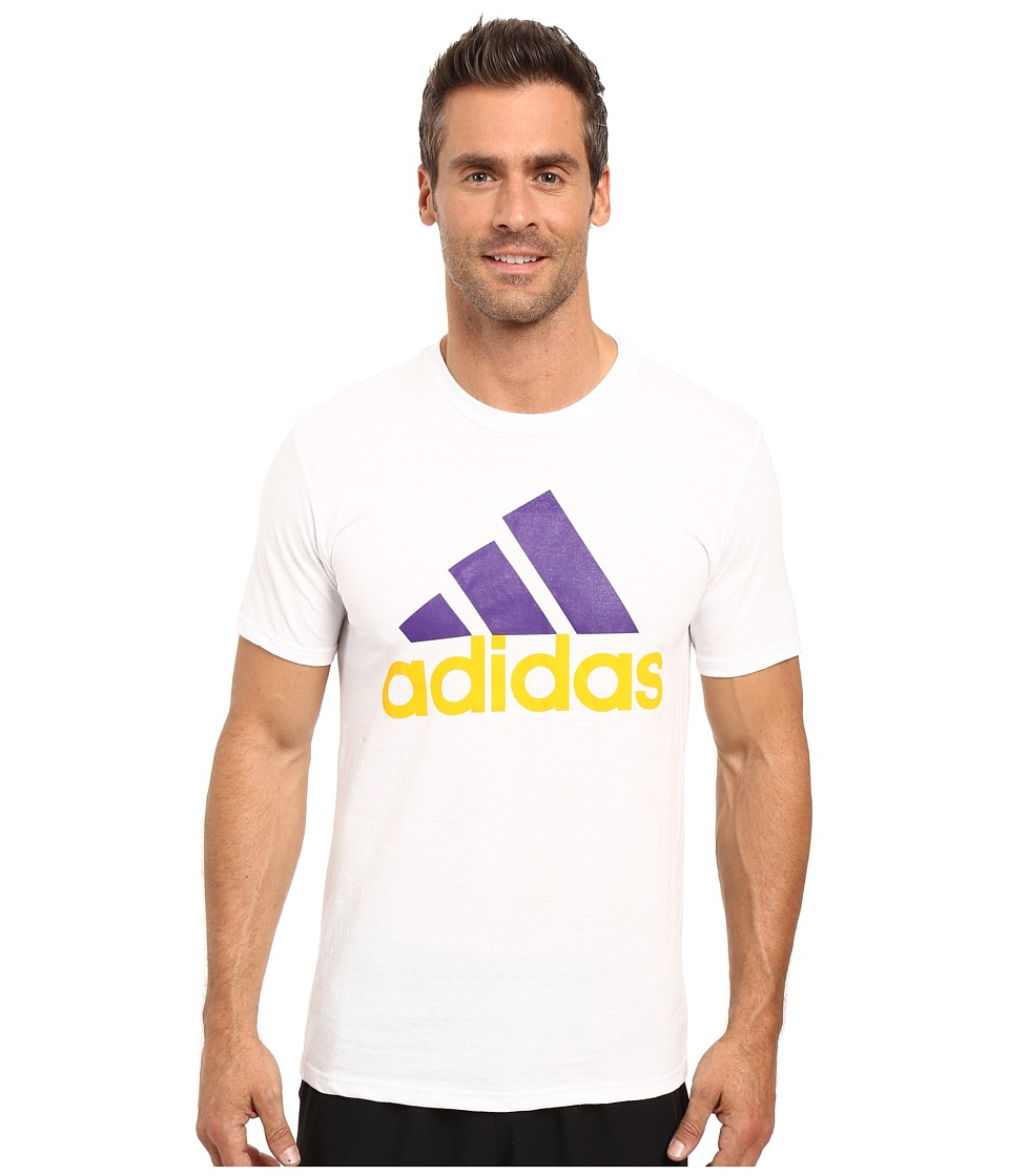 adidas - Badge of Sport Performance Tee (White/Gold/Purple Logo) Men's T Shirt
